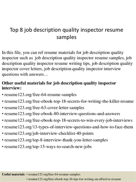 Inspector Description by Top 8 Description Quality Inspector Resume Sles