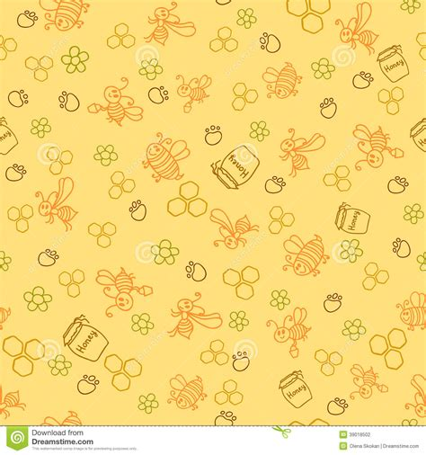 honey pattern vector seamless pattern with honey bees in a honeycomb stock