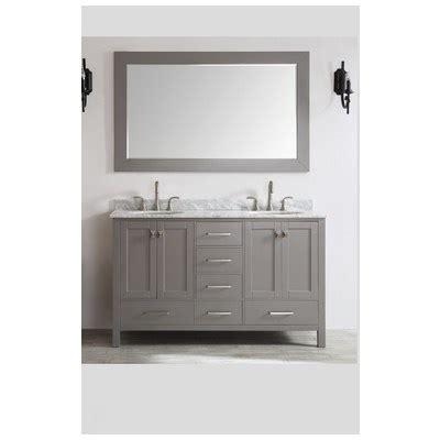 Best deal eviva aberdeen 60 quot transitional grey bathroom vanity with white carrera countertop