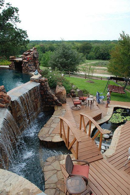 awesome backyards the williams pool waterfall bridge and koi pond flickr