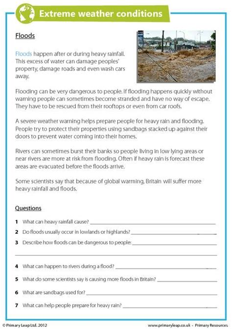 5 themes of geography reading comprehension primaryleap co uk extreme weather conditions floods