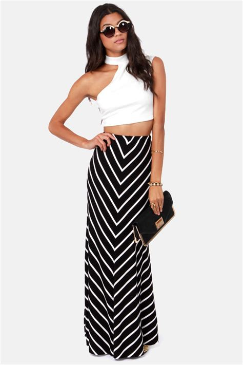 black and white skirt striped skirt maxi skirt