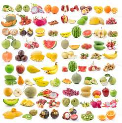 set of different types of fruits on white background stock