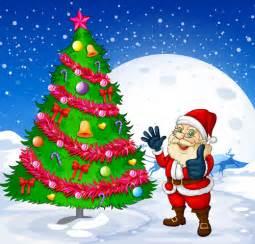 santa and christmas tree vector 01 vector christmas