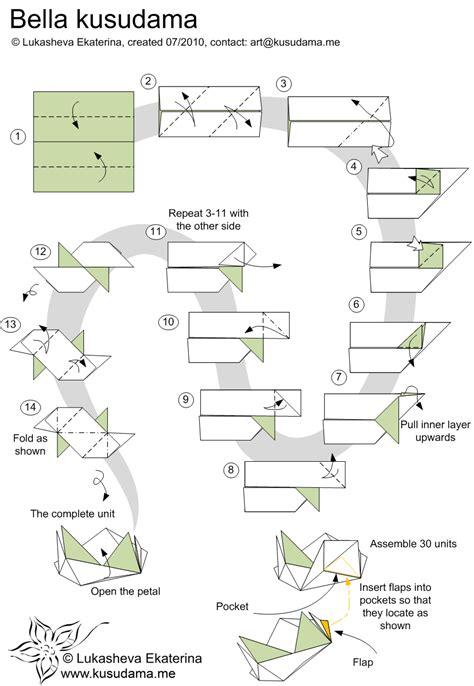Origami Kusudama Diagrams - kusudama me modular origami unit school