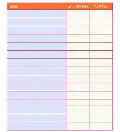 22 Chore Chart Template Free Pdf Excel Word Formats Chore Chart Template Pdf