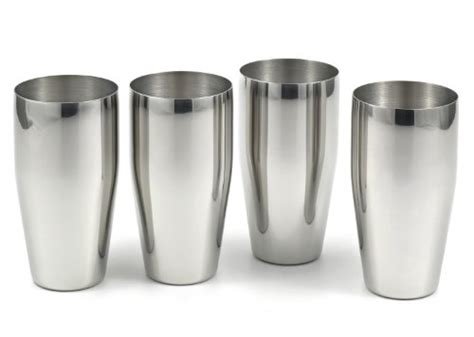Quality Barware 4 Brilliant Stainless Steel Tumblers 24 Oz