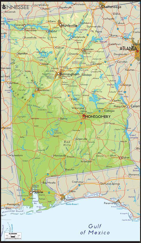 map of alabama physical map of alabama ezilon map