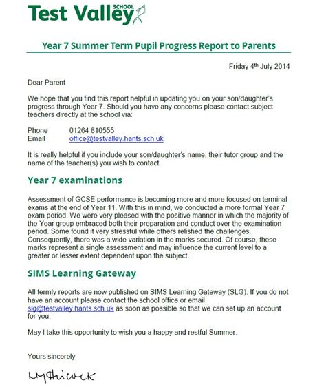 Parent Letter About Student Progress Test Valley School Year 7 Summer Term Pupil Progress Report To Parents
