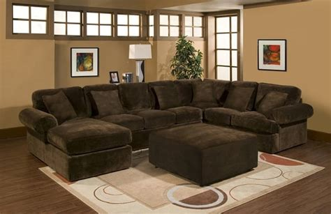 Large Comfortable Sectional Sofas Large Chaise Sectional With Cocktail Ottoman In Comfortable Chion Chocolate Microfiber