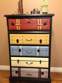 chest of drawers painted faux suitcase fronts looks real