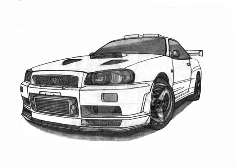 nissan skyline drawing outline nissan skyline r34 gtr updated by irshard911 on deviantart