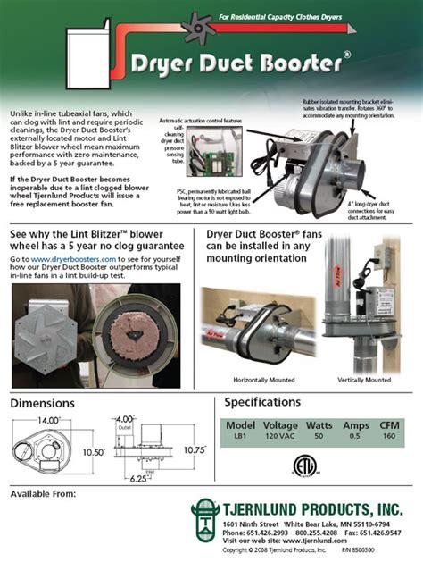 tjernlund lb2 dryer booster fan residential capacity dryer duct booster dryer boosting