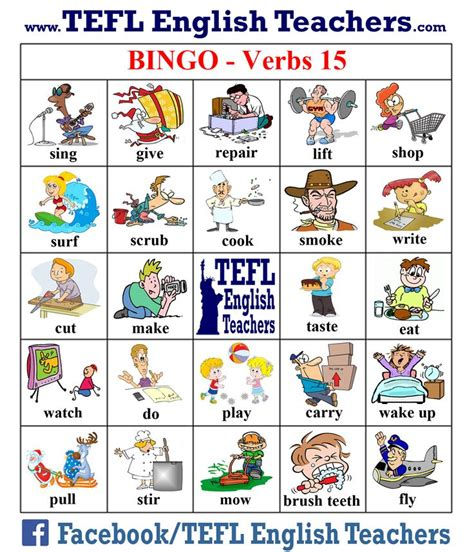 printable games with the verb to be tefl english teachers bingo verbs game board 15 of 20