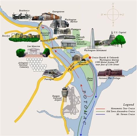 washington dc rivers map washington dc sightseeing cruises potomac river cruises