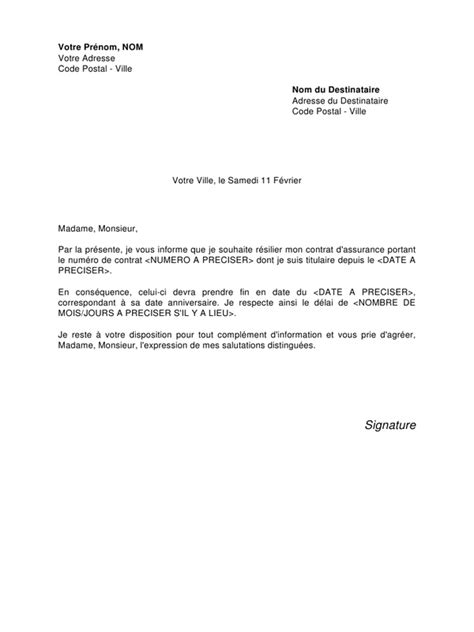 Exemple De Lettre Resiliation Modele Lettre Resiliation De Contrat Document