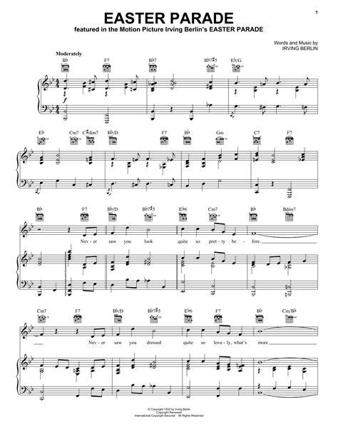 printable lyrics to easter parade easter parade sheet music