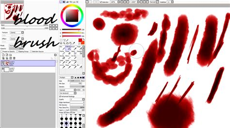 paint tool sai blood tutorial blood brush settings for paintool sai by