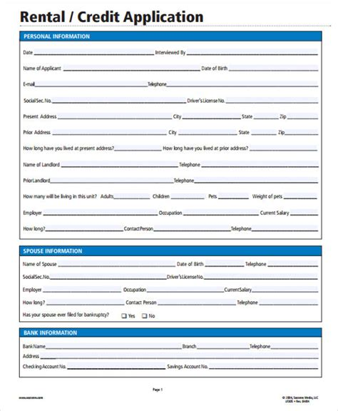 28 Rental Application In Pdf Free Premium Templates Rental Credit Application Form Template