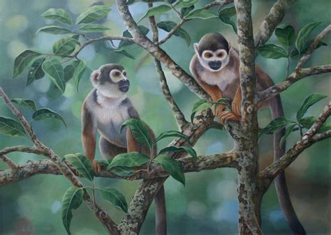 monkey painting custom made squirrel monkeys acrylic painting by