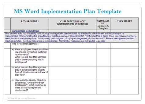 implementation plan sle template ms word implementation plan template microsoft word