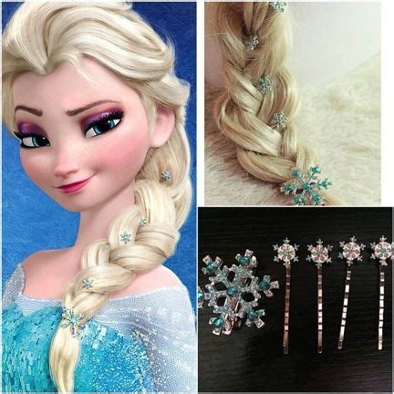 Elsa Button Hairclips elsa hair snowflake elsa braid clothes elsa hair elsa braid