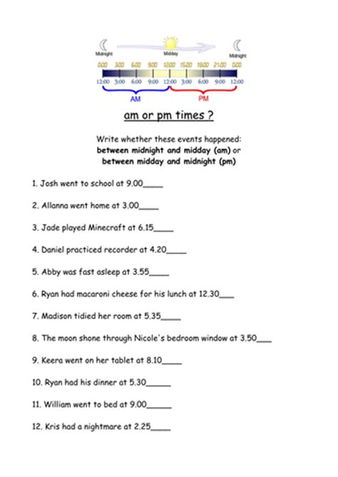 Am And Pm Worksheets by Am Or Pm Worksheet By Live4ska Teaching Resources Tes