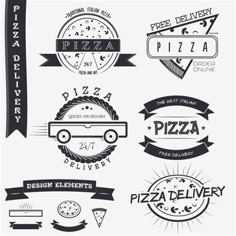 creative pizza names creative pizza delivery labels with logos vintage vector