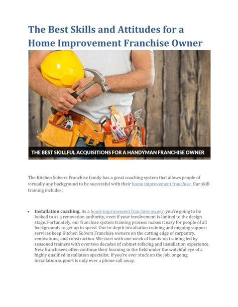 ppt the best skills and attitudes for a home improvement