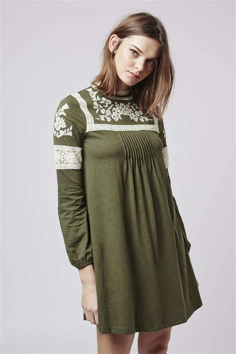 Dress Nsemock topshop embroidered smock dress in green khaki lyst