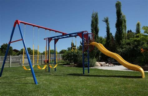 used commercial swing set lifetime monkey bar adventure swing set primary colors