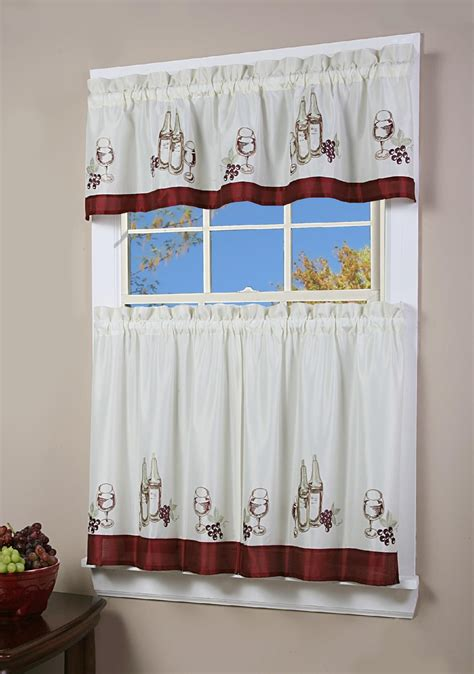 tiered kitchen curtains simply window vino kitchen curtain tier pair home home