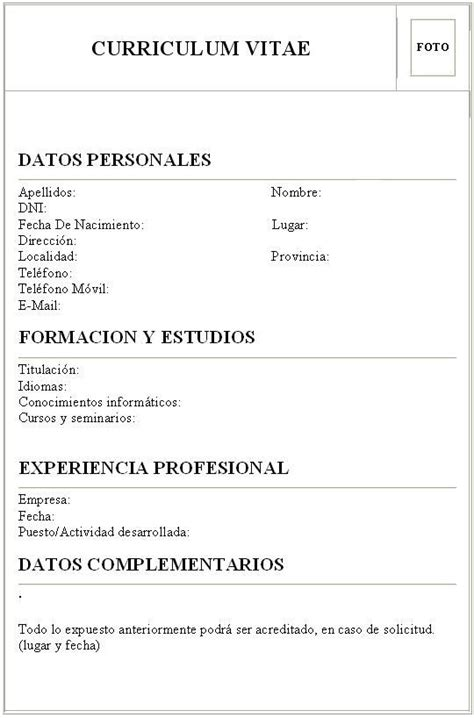 Plantillas De Curriculum Vitae Para Rellenar En Español 17 Best Images About Cv En Espa 241 Ol On Learning And We