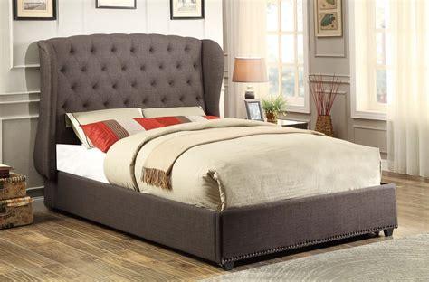 dark grey upholstered bed homelegance chardon upholstered wing bed dark grey 1894n