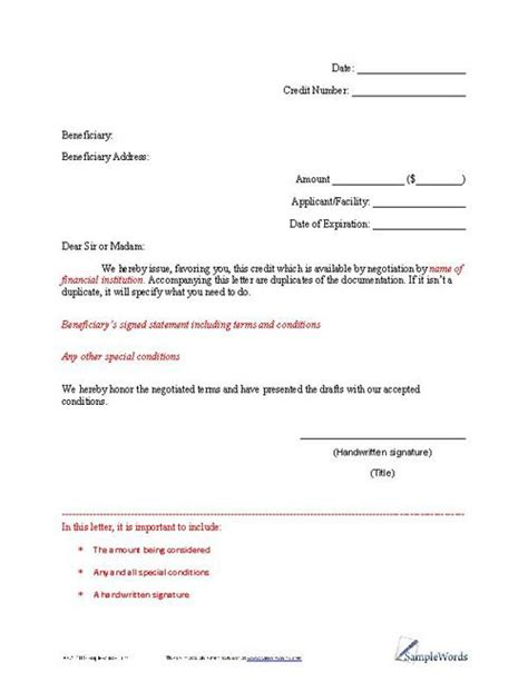 Credit Note Format For Export Letter Of Credit Exle Letters
