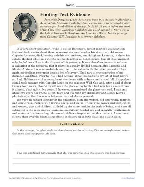 8th Grade Reading Worksheets by Finding Text Evidence Frederick Douglass 8th Grade