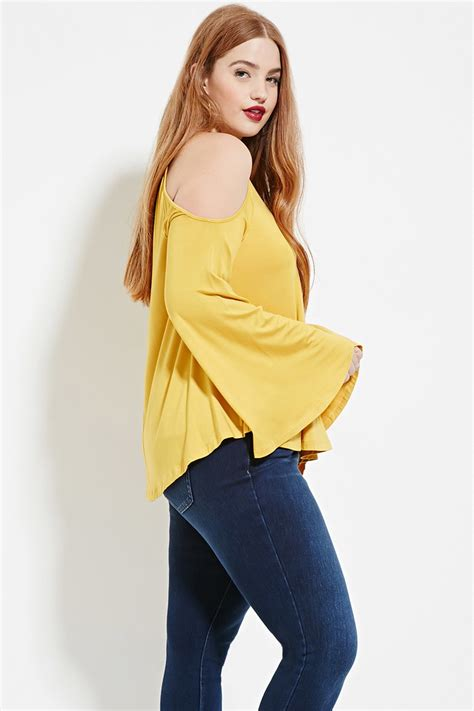 Top Only Big Size Forever 23 forever 21 plus size open shoulder top in yellow lyst
