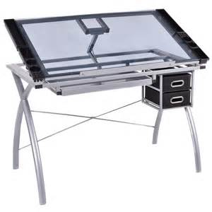 Drafting Table Prices Adjustable Drawing Desk Drafting Table Tempered Glass Top Craft W Drawers Ebay
