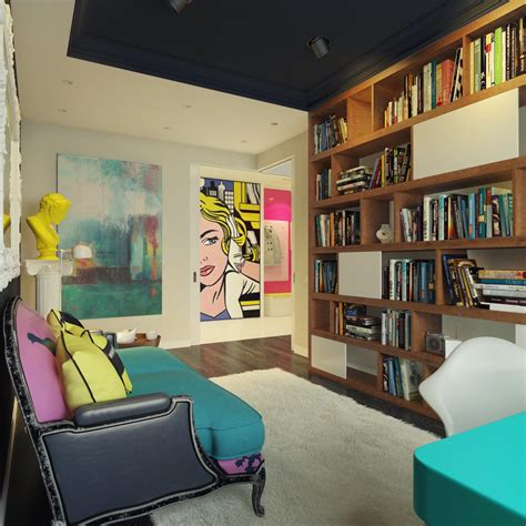 artistic interior design modern pop art style apartment