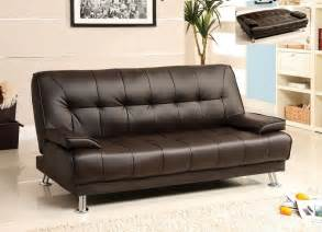 futon sofa bed dark brown leather removable armrests