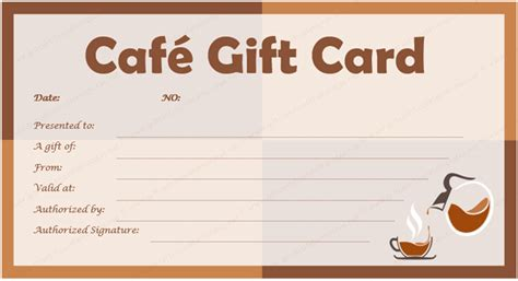gift card template cafe gift card template for microsoft 174 word