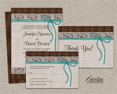 printable wedding invitation kits free diy printable rustic turquoise wedding invitation sets