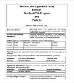 independent contractor agreement sle template sle service level agreement 9 exle format