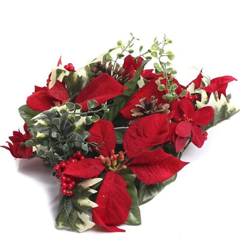 Artificial Poinsettia And Hollydle  Ee  Ring Ee   Dles And