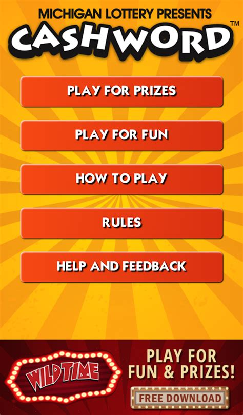 cashword by michigan lottery android apps on play