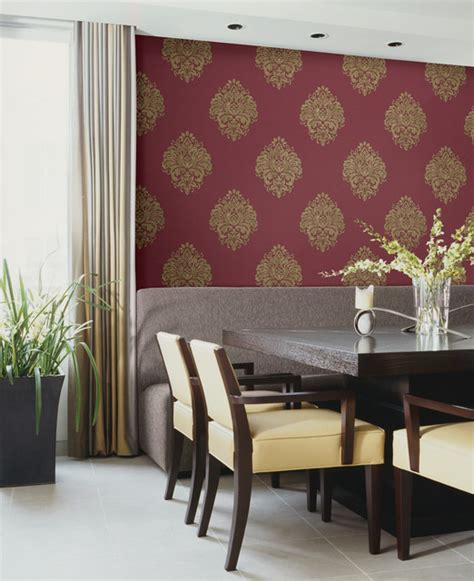duchess damask wallpaper traditional dining room