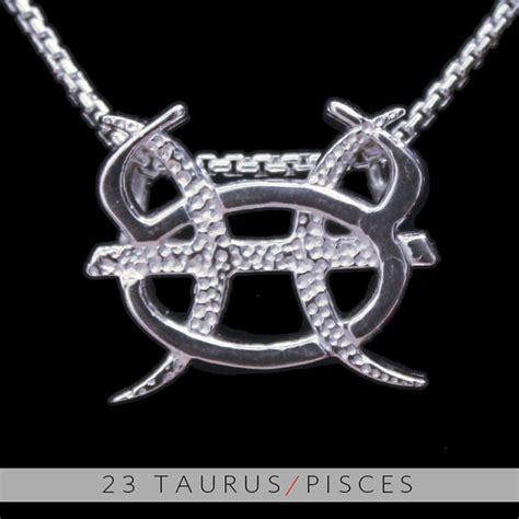 23 taurus and pisces silver unity pendant by