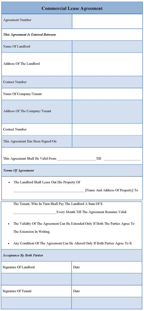 commercial lease templates agreement template for commercial lease template of
