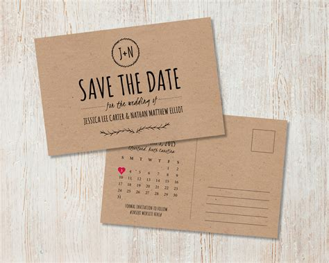 rustic wedding save the date kraft save the date rustic