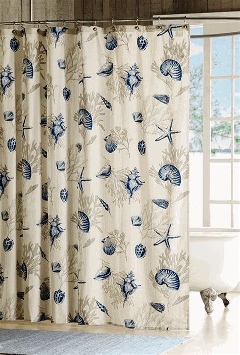shower curtains with seashells bayside blue seashell shower curtain